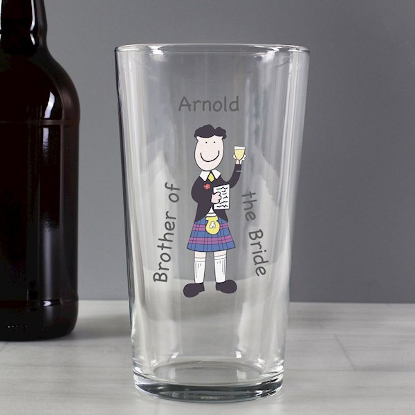 Scottish Cartoon Wedding Glass