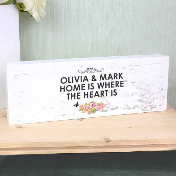 Shabby Chic Wooden Block Sign