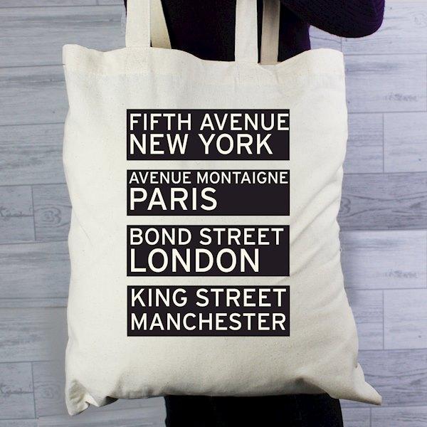 Shopping Destinations Cotton Bag