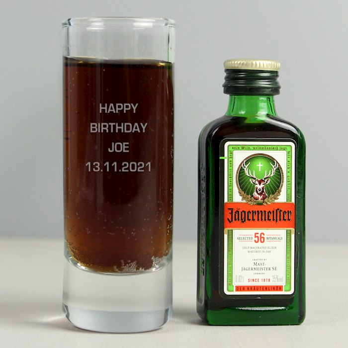 Shot Glass and Miniature Jagermeister - Text Only