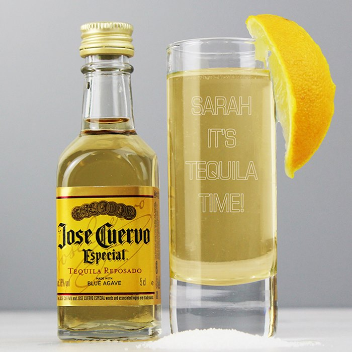 Shot Glass and Miniature Tequila - Text Only