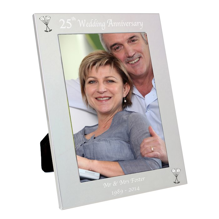 Silver 5x7 25th Wedding Anniversary Photo Frame