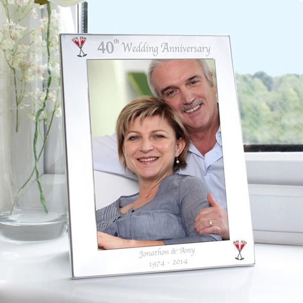 Silver 5x7 40th Wedding Anniversary Photo Frame