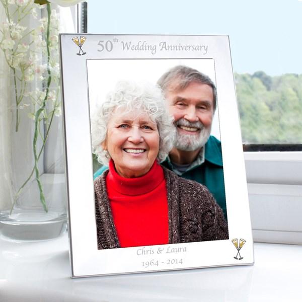 Silver 5x7 50th Wedding Anniversary Photo Frame
