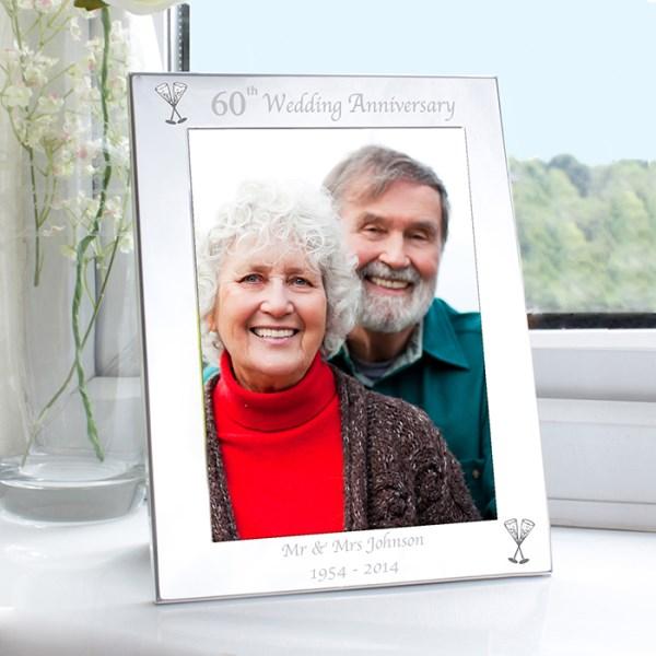 Silver 5x7 60th Wedding Anniversary Photo Frame