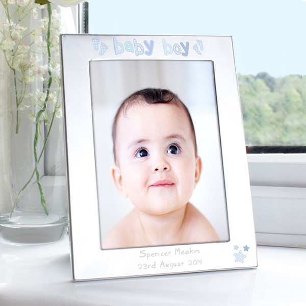 Silver 5x7 Baby Boy Photo Frame