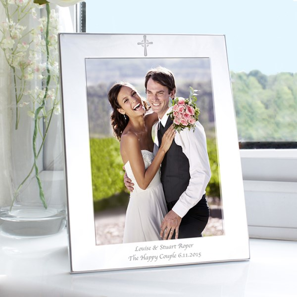 Silver 5x7 Portrait Cross Photo Frame