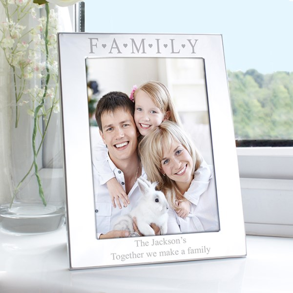 Silver 5x7 Family & Hearts Photo Frame