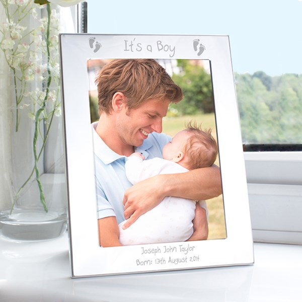 Silver 5x7 Footprints Photo Frame