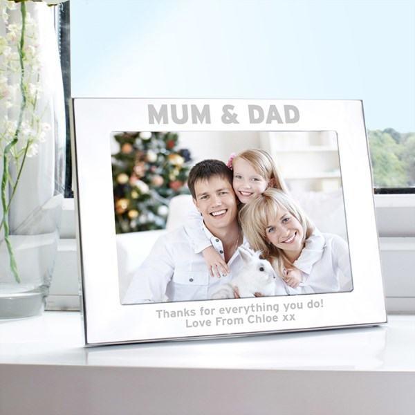 Silver 7x5 Mum & Dad Photo Frame
