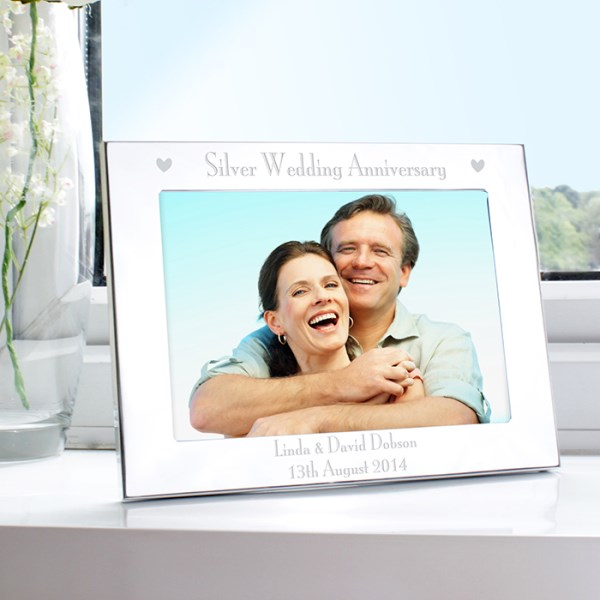 Personalised  Silver Anniversary 7x5 Landscape Photo Frame