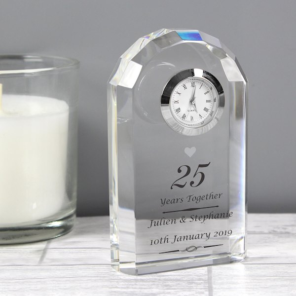 Silver Anniversary Crystal Clock