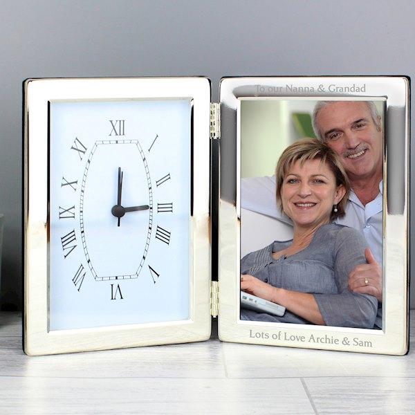 Silver Clock & 4x6 Photo Frame