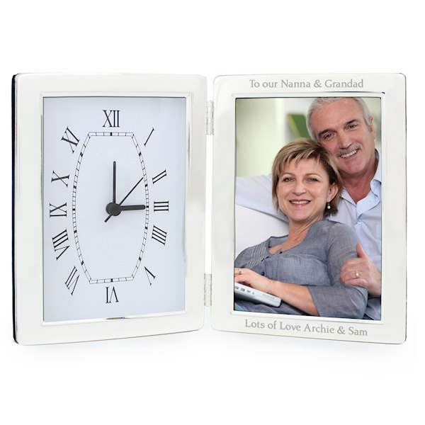 Silver Clock & 4x6 Photo Frame | SpecialMoment.co.uk