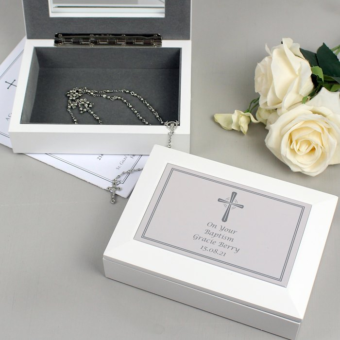Silver Cross White Wooden Keepsake Box