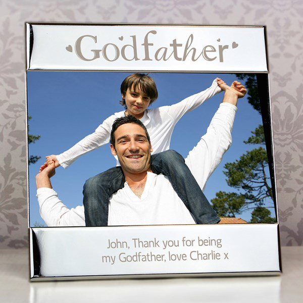 Silver Godfather Square 6x4 Photo Frame