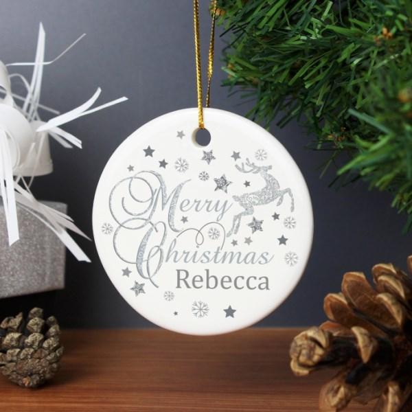 Silver Reindeer Round Ceramic Decoration