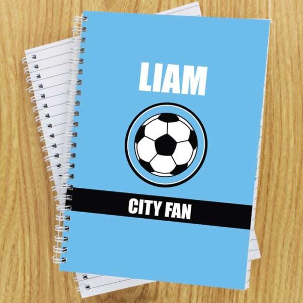 Sky Blue Football Fan A5 Notebook