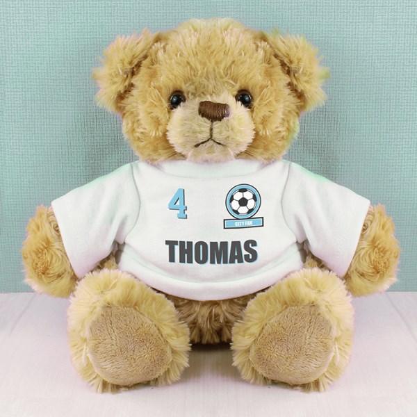 Sky Blue Football Fan T-Shirt Message Bear