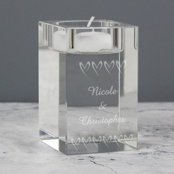 Small Hearts Glass Tea Light Candle Holder