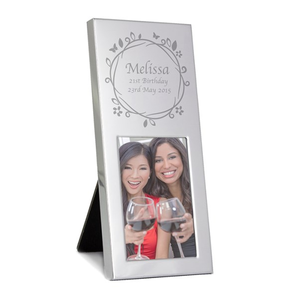 Small Silver Butterfly Swirl 2x3 Photo Frame