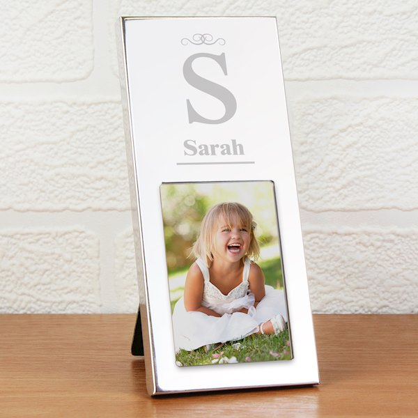 Small Silver Initial 2x3 Photo Frame