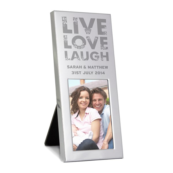 Small Silver Live Love Laugh 2x3 Photo Frame