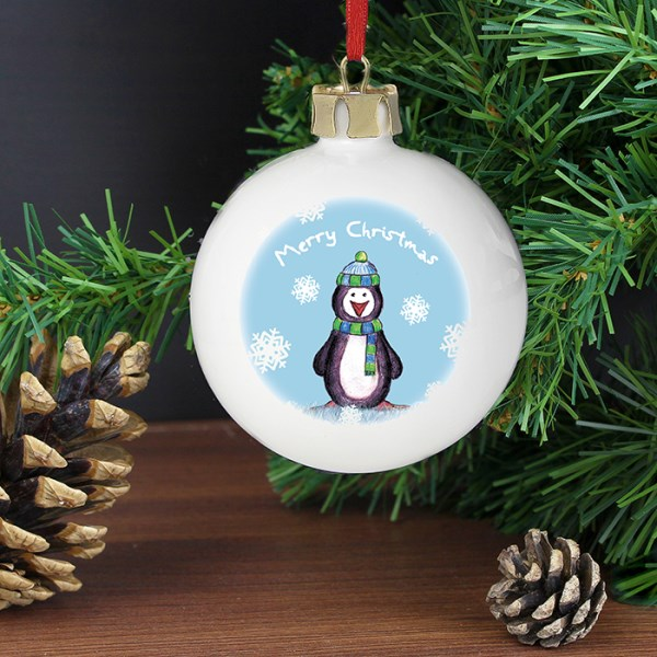 Snow Scene Penguin Bauble