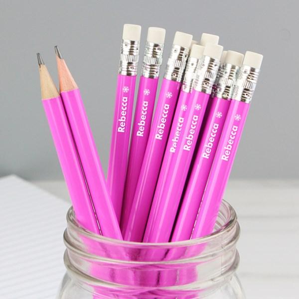 Snowflake Motif Pink Pencils