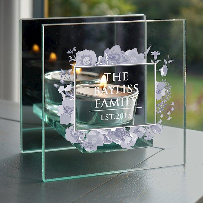 Soft Watercolour Mirrored Glass Tea Light Holder