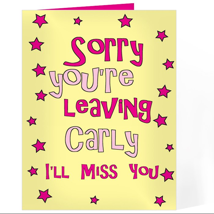 Sorry You're Leaving Card - Pink Stars