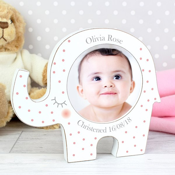 Pink Spotty Elephant Photo Frame