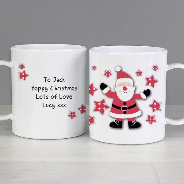 Personalised Spotty Santa Plastic Mug