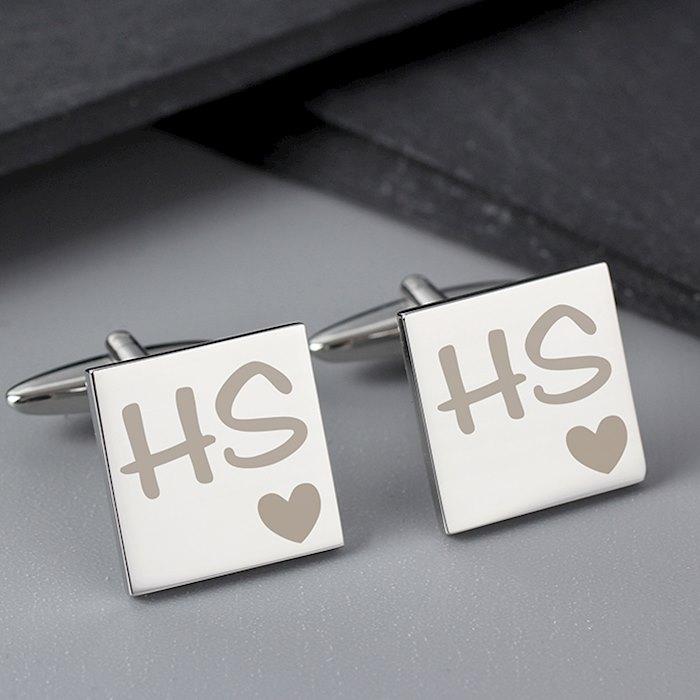 Square Cufflinks Initials & Heart