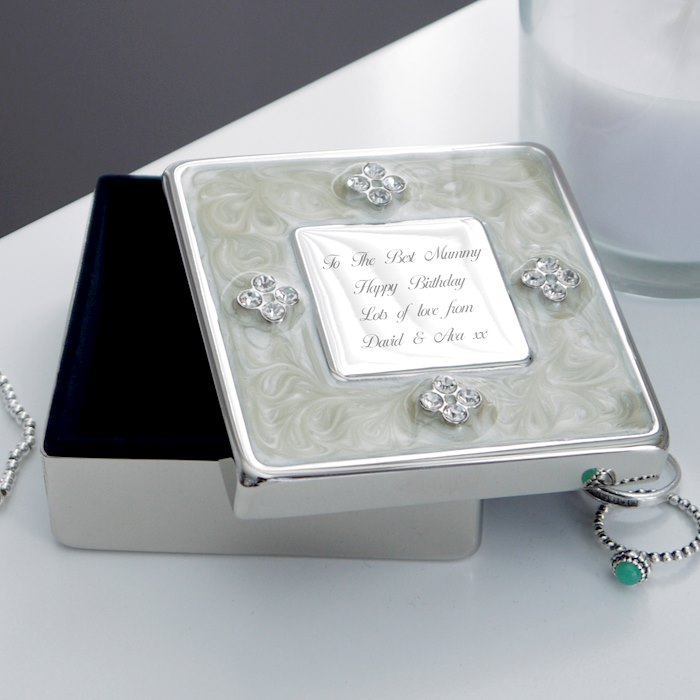 Square Diamante Trinket Box