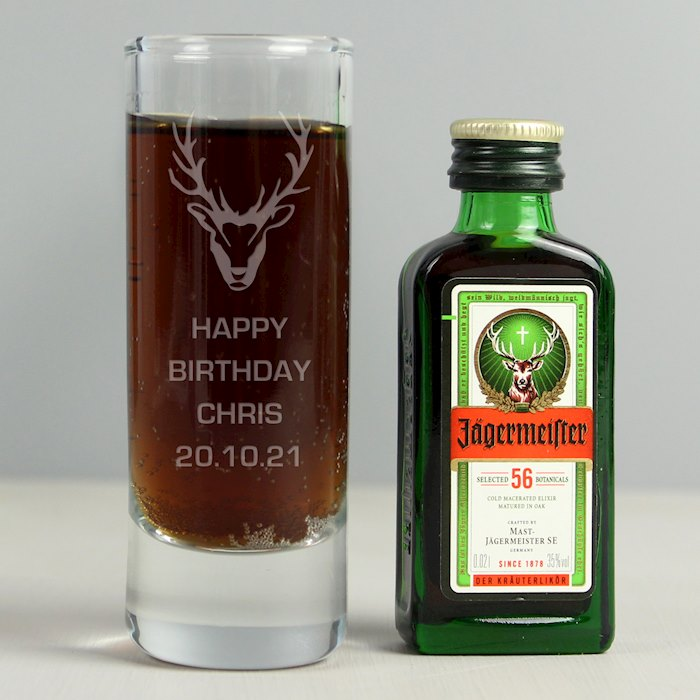 Stag Shot Glass and Miniature Jagermeister