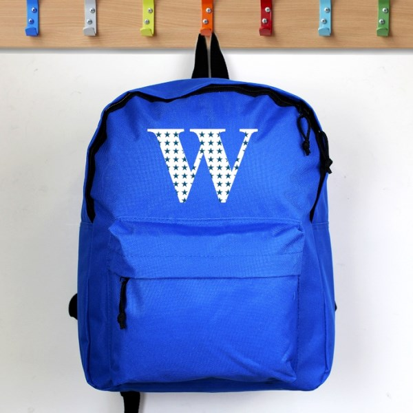 Star Initial Blue Backpack