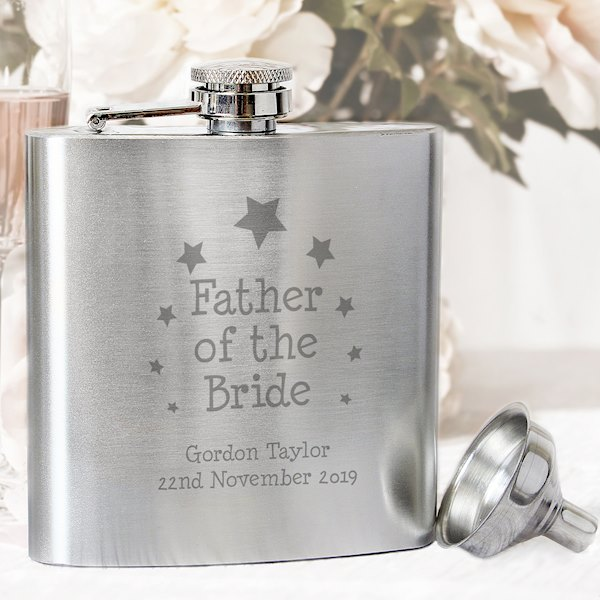 Stars Father of the Bride Personalised Hip Flask