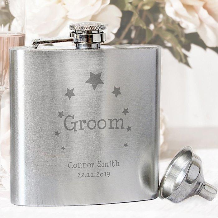 Stars Groom Hip Flask