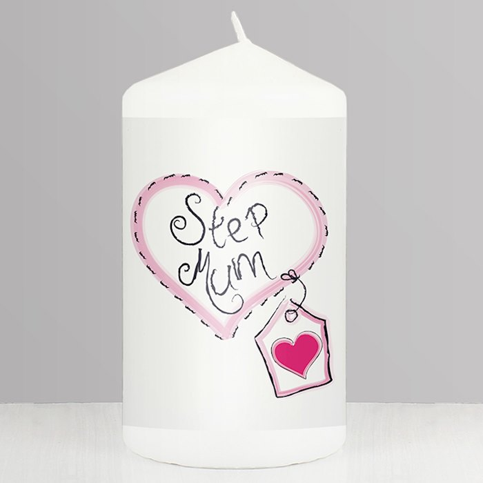 Step Mum Heart Stitch Candle
