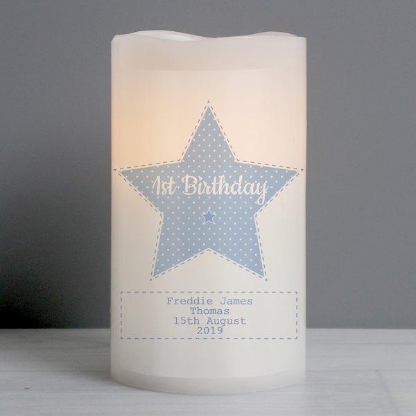 Stitch & Dot Baby Boy Nightlight LED Candle
