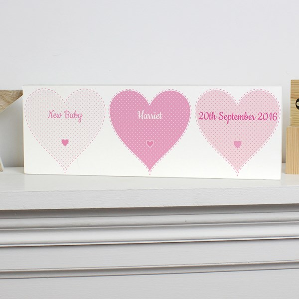 Stitch & Dot Baby Girl Wooden Block Sign