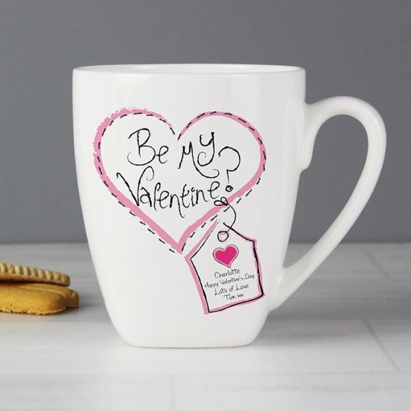 Stitch Heart Be My Valentine Latte Mug