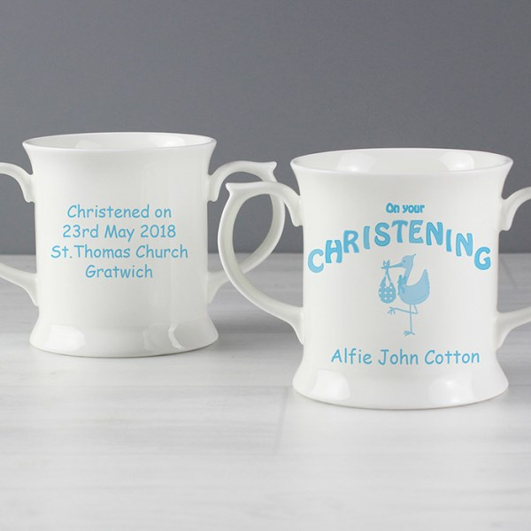 Stork Blue Christening Loving Mug
