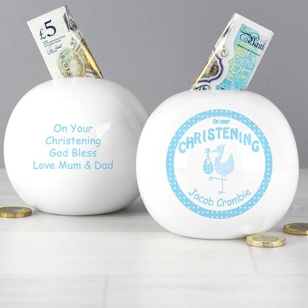 Stork Blue Christening Money Box