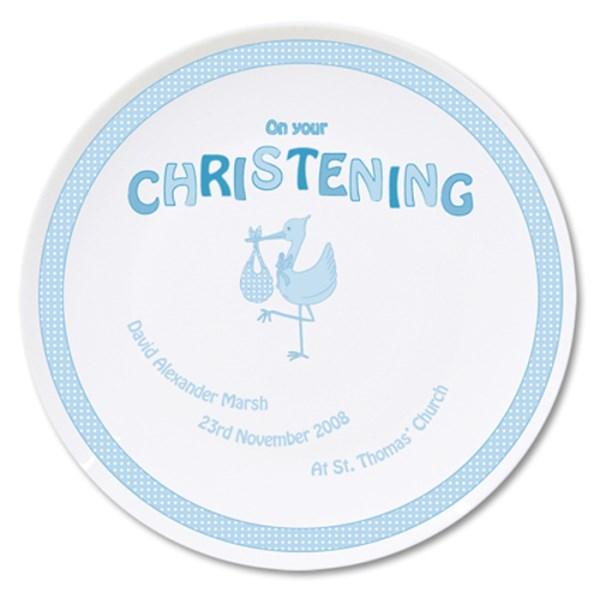 Stork Blue Christening Plate