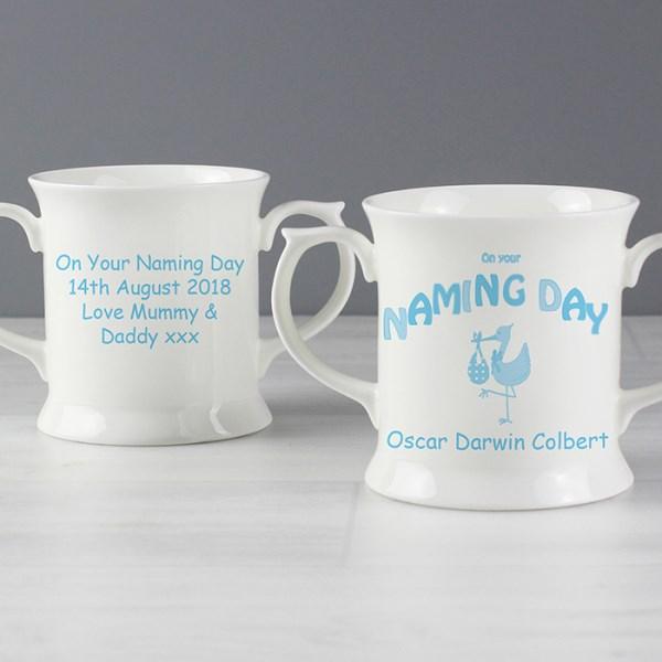 Stork Blue Naming Day Loving Mug