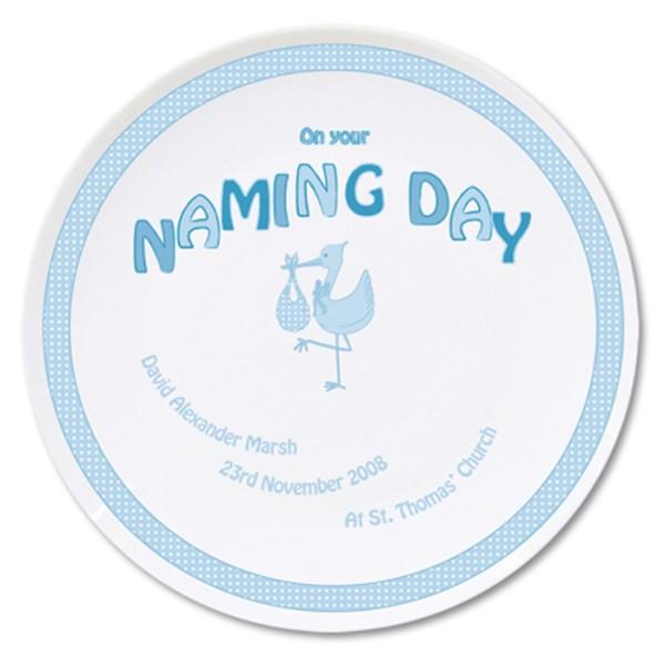 Stork Blue Naming Day Plate