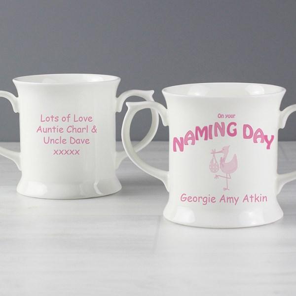 Stork Pink Naming Day Loving Mug