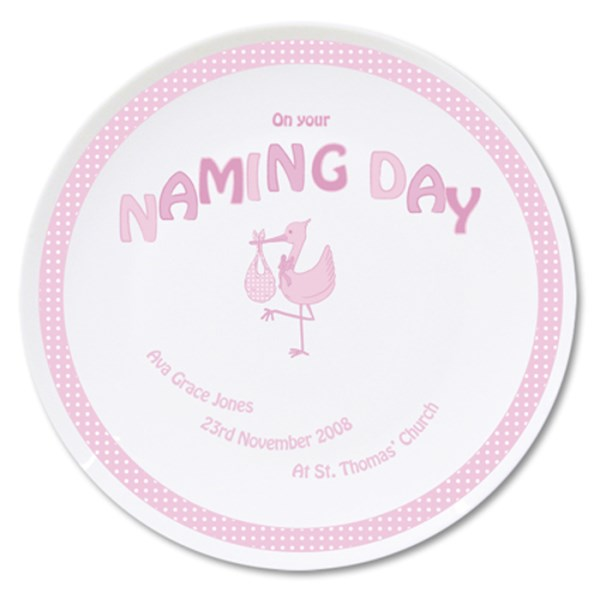 Stork Pink Naming Day Plate